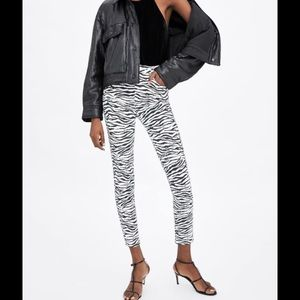 Zara skinny zebra print jeans